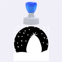 Blue White Christmas Tree Rubber Round Stamps (large) by yoursparklingshop