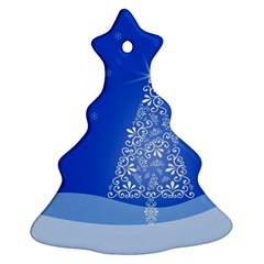 Blue White Christmas Tree Ornament (christmas Tree) by yoursparklingshop