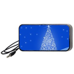 Blue White Christmas Tree Portable Speaker (black)  by yoursparklingshop