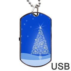 Blue White Christmas Tree Dog Tag Usb Flash (one Side) by yoursparklingshop