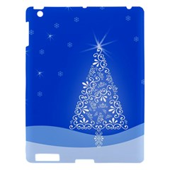 Blue White Christmas Tree Apple Ipad 3/4 Hardshell Case by yoursparklingshop