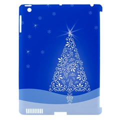 Blue White Christmas Tree Apple Ipad 3/4 Hardshell Case (compatible With Smart Cover) by yoursparklingshop