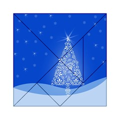 Blue White Christmas Tree Acrylic Tangram Puzzle (6  X 6 ) by yoursparklingshop