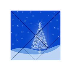 Blue White Christmas Tree Acrylic Tangram Puzzle (4  X 4 ) by yoursparklingshop