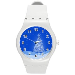 Blue White Christmas Tree Round Plastic Sport Watch (m) by yoursparklingshop