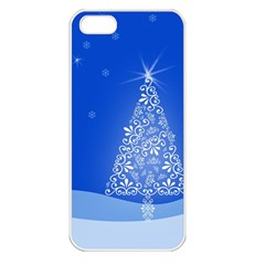 Blue White Christmas Tree Apple Iphone 5 Seamless Case (white) by yoursparklingshop