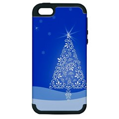 Blue White Christmas Tree Apple Iphone 5 Hardshell Case (pc+silicone) by yoursparklingshop