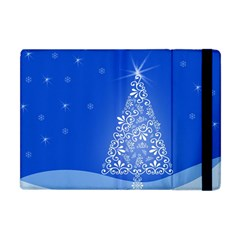 Blue White Christmas Tree Apple Ipad Mini Flip Case by yoursparklingshop