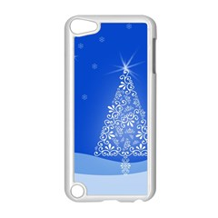 Blue White Christmas Tree Apple Ipod Touch 5 Case (white) by yoursparklingshop