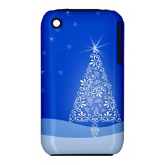 Blue White Christmas Tree Apple Iphone 3g/3gs Hardshell Case (pc+silicone) by yoursparklingshop