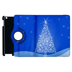 Blue White Christmas Tree Apple Ipad 3/4 Flip 360 Case by yoursparklingshop