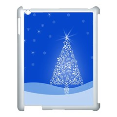 Blue White Christmas Tree Apple Ipad 3/4 Case (white) by yoursparklingshop