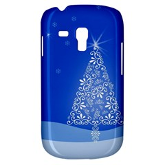 Blue White Christmas Tree Samsung Galaxy S3 Mini I8190 Hardshell Case by yoursparklingshop