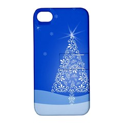 Blue White Christmas Tree Apple Iphone 4/4s Hardshell Case With Stand by yoursparklingshop