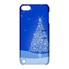 Blue White Christmas Tree Apple Ipod Touch 5 Hardshell Case With Stand by yoursparklingshop