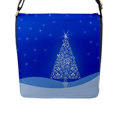 Blue White Christmas Tree Flap Messenger Bag (l)  by yoursparklingshop