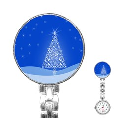 Blue White Christmas Tree Stainless Steel Nurses Watch by yoursparklingshop