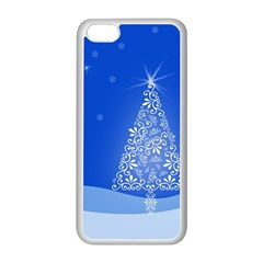 Blue White Christmas Tree Apple Iphone 5c Seamless Case (white) by yoursparklingshop