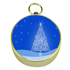 Blue White Christmas Tree Gold Compasses by yoursparklingshop