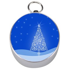 Blue White Christmas Tree Silver Compasses by yoursparklingshop