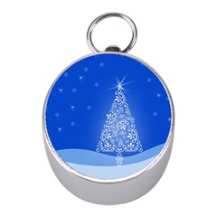 Blue White Christmas Tree Mini Silver Compasses by yoursparklingshop