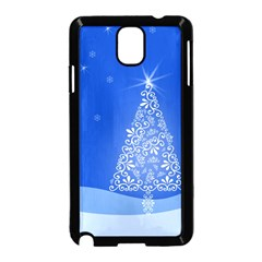 Blue White Christmas Tree Samsung Galaxy Note 3 Neo Hardshell Case (black) by yoursparklingshop