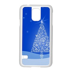 Blue White Christmas Tree Samsung Galaxy S5 Case (white) by yoursparklingshop