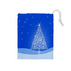 Blue White Christmas Tree Drawstring Pouches (medium)  by yoursparklingshop