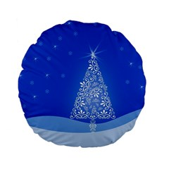 Blue White Christmas Tree Standard 15  Premium Flano Round Cushions by yoursparklingshop