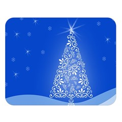 Blue White Christmas Tree Double Sided Flano Blanket (large)  by yoursparklingshop