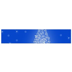 Blue White Christmas Tree Flano Scarf (small) by yoursparklingshop