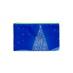 Blue White Christmas Tree Cosmetic Bag (xs) by yoursparklingshop