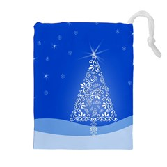 Blue White Christmas Tree Drawstring Pouches (extra Large) by yoursparklingshop