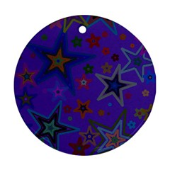 Purple Christmas Party Stars Ornament (round)  by yoursparklingshop