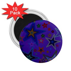 Purple Christmas Party Stars 2 25  Magnets (10 Pack)  by yoursparklingshop
