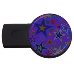 Purple Christmas Party Stars Usb Flash Drive Round (2 Gb)  by yoursparklingshop