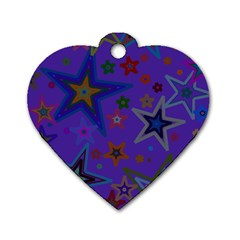 Purple Christmas Party Stars Dog Tag Heart (One Side)