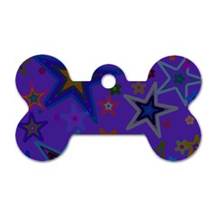 Purple Christmas Party Stars Dog Tag Bone (two Sides) by yoursparklingshop
