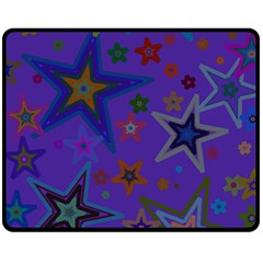 Purple Christmas Party Stars Fleece Blanket (medium)  by yoursparklingshop