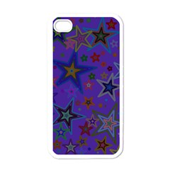 Purple Christmas Party Stars Apple Iphone 4 Case (white) by yoursparklingshop