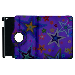 Purple Christmas Party Stars Apple Ipad 3/4 Flip 360 Case by yoursparklingshop