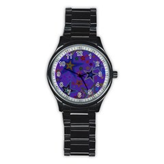 Purple Christmas Party Stars Stainless Steel Round Watch by yoursparklingshop