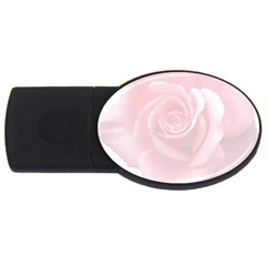 Pink White Love Rose Usb Flash Drive Oval (4 Gb)  by yoursparklingshop