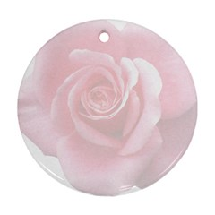 Pink White Love Rose Round Ornament (two Sides)  by yoursparklingshop