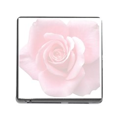 Pink White Love Rose Memory Card Reader (square) by yoursparklingshop