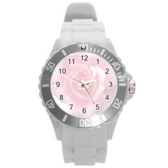 Pink White Love Rose Round Plastic Sport Watch (l) by yoursparklingshop