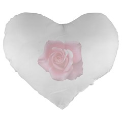 Pink White Love Rose Large 19  Premium Heart Shape Cushions by yoursparklingshop