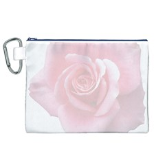 Pink White Love Rose Canvas Cosmetic Bag (xl)  by yoursparklingshop