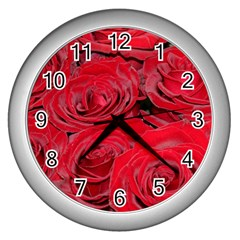 Red Love Roses Wall Clocks (silver)  by yoursparklingshop