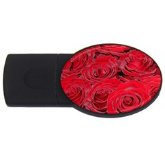 Red Love Roses Usb Flash Drive Oval (4 Gb)  by yoursparklingshop